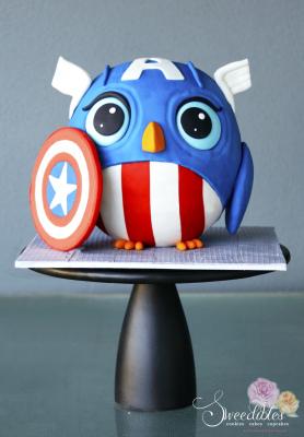 Angry Bird Captain America Cake