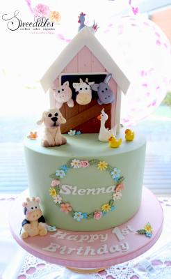 Barn Animals 1st Birthday Cake