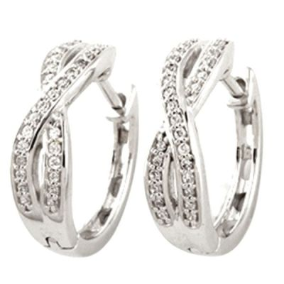 Silver Huggie Earrings with 1/5ct total weight Diamonds