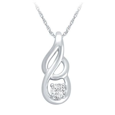 Silver Pendant with 1/10 ct Diamond with matching earrings sold separately