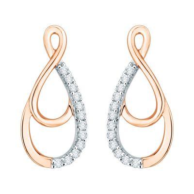 10k pink Gold Pendant and Earring Set: Earrings 1/10 cttw Pendant 1/20 cttw