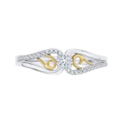 10k white and yellow Gold Ring with 1/6ct total weight in Diamonds