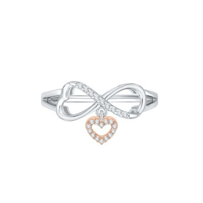 10k white and Pink Gold Infinity and Dangle Heart Ring with 1/10ct total weight in Diamonds.