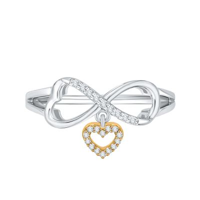 10k white and Yellow Gold Infinity and Dangle Heart Ring with 1/10ct total weight in Diamonds.