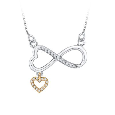 10k white and yellow Gold Infinity Necklace with heart dangle with 1/10ct total weight in Diamonds.