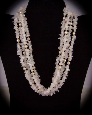 Multi-strand Freshwater pearl and Rose Qtz.