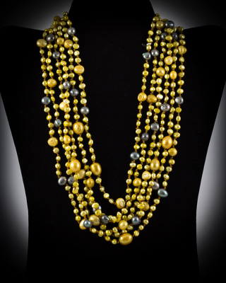 Freshwater Pearls; gold and black; multi-strand w/button closure