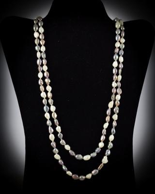 Freshwater Pearls; Black/White; 64″ single strand