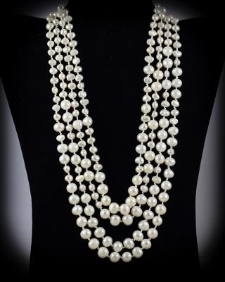 Freshwater Pearls; White; multi-strand w/button closure