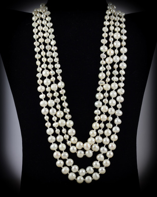Freshwater Pearls; White; multi-strand w/button closure