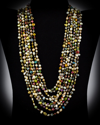Freshwater Pearls; multi-color; multi-strand w/ button closure