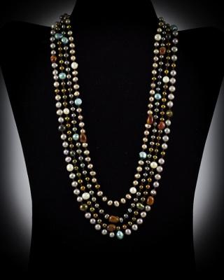Freshwater Pearls & Tigar Eye; multi-color, multi-strand w/ pearl button closure