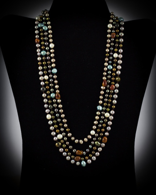Freshwater Pearls & Tigar Eye; multi-color, multi-strand w/ pearl button closure