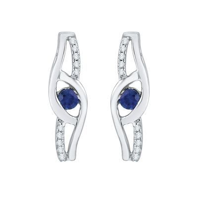 10k white Pendant and Earring Set. Earrings:1/20ct total weight blue and white Diamonds.