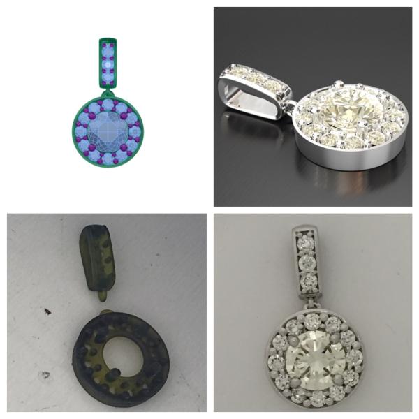 Diamond Pendant printed from 3D machine