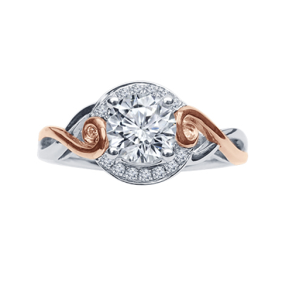 1/6cttw white & rose gold semi engagement ring  Takes 3/4-1.0ct stone.