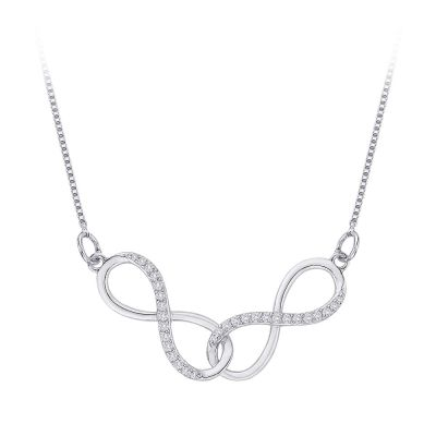 Diamond & Gold Infinity Necklace 1/6cttw, 10kt white gold