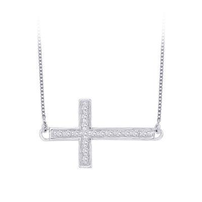 10k Diamond Cross Necklace 1/10cttw, 10kw