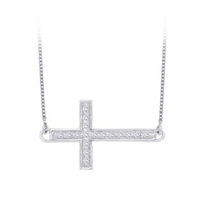 10k Diamond Cross Necklace 1/10cttw, 10kw