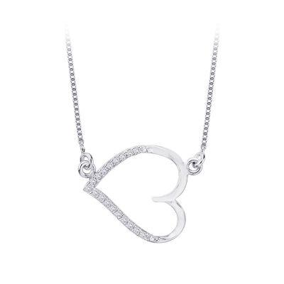 10k Diamond Heart Necklace 1/10 cttw, 10kt white
