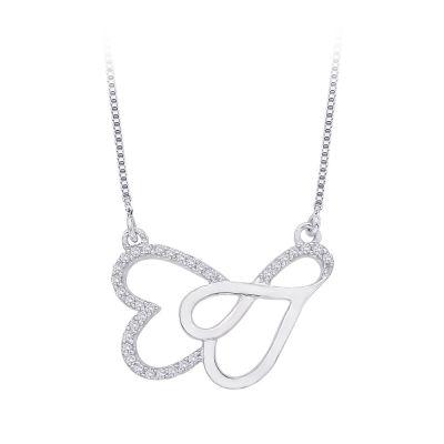 10k Diamond Double Heart Necklace 1/6 cttw; 10kt white