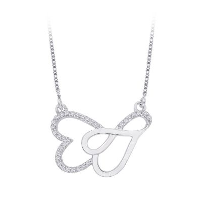 10k Diamond Double Heart Necklace 1/6 cttw; 10kt white