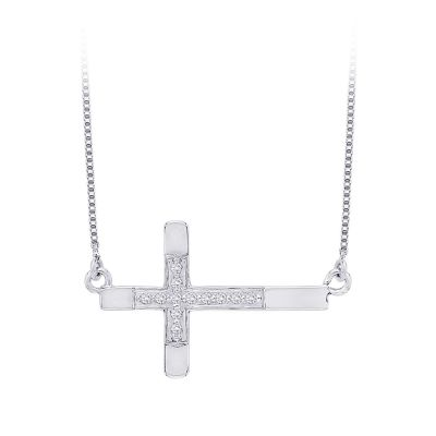 1/10 total weight of diamonds, 10kt side-ways cross necklace.  Available in white or yellow gold