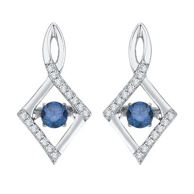 CBL and 3/8ct total weight diamonds, silver earrings