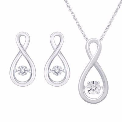 10k white gold twinkling star necklace and earring set with 1/3ct total weight in Diamonds.  -not sold separately