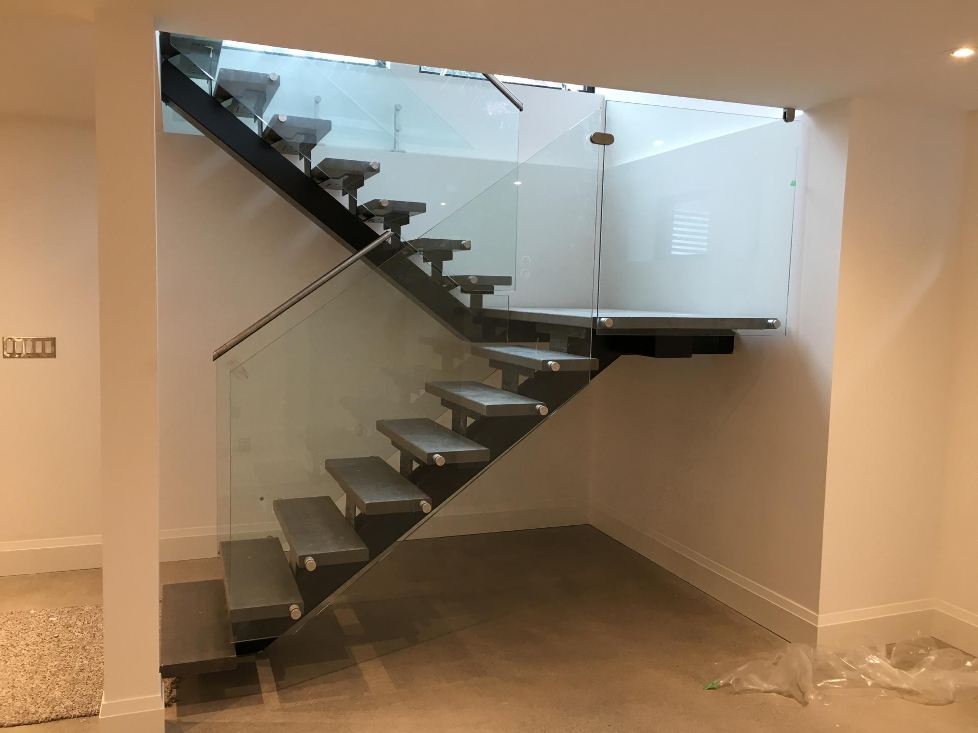 Basement stairs Glass Railing