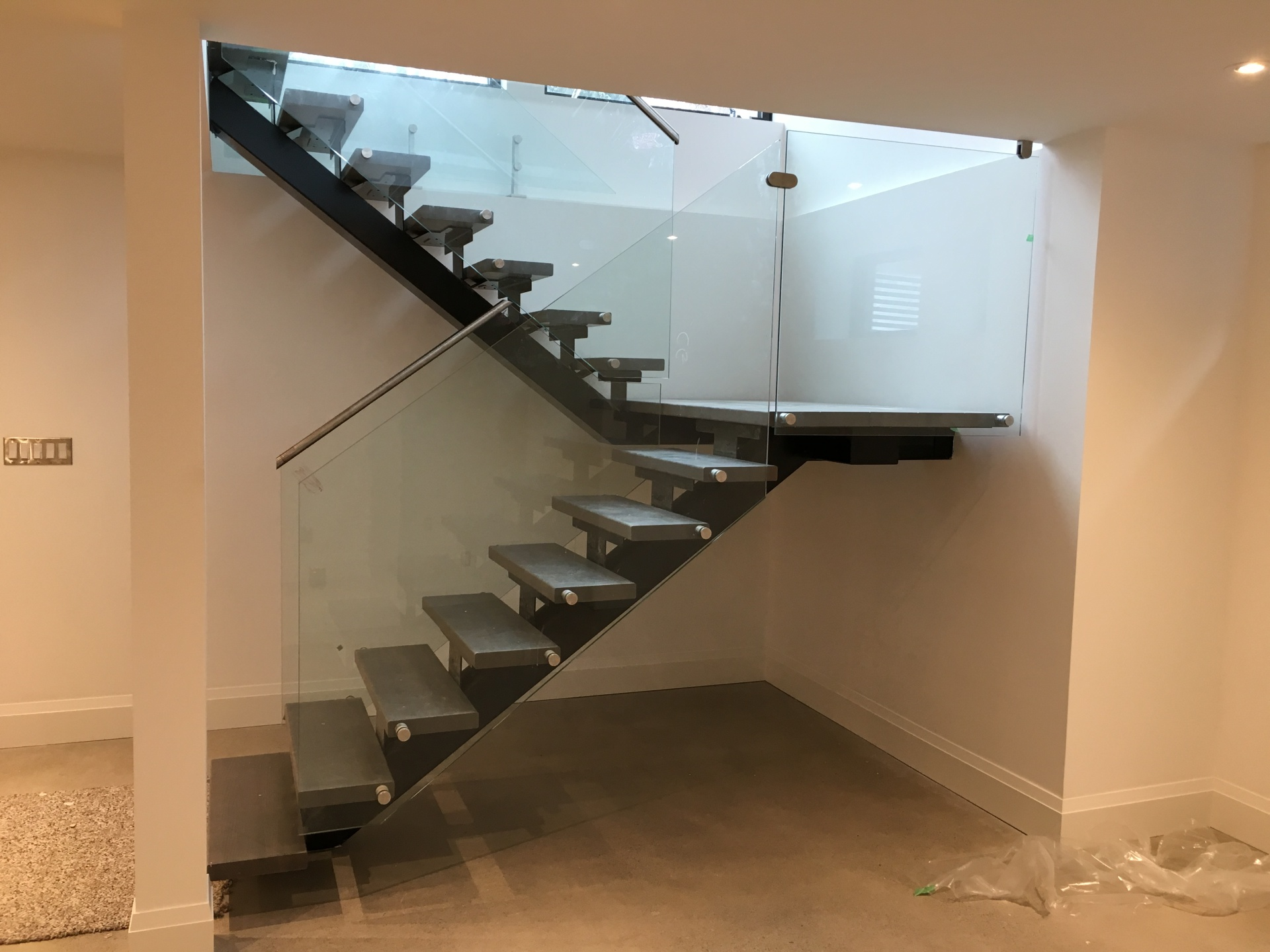 Basement stairs Glass Railing