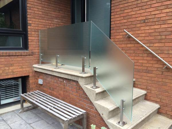 Frosted glass railing