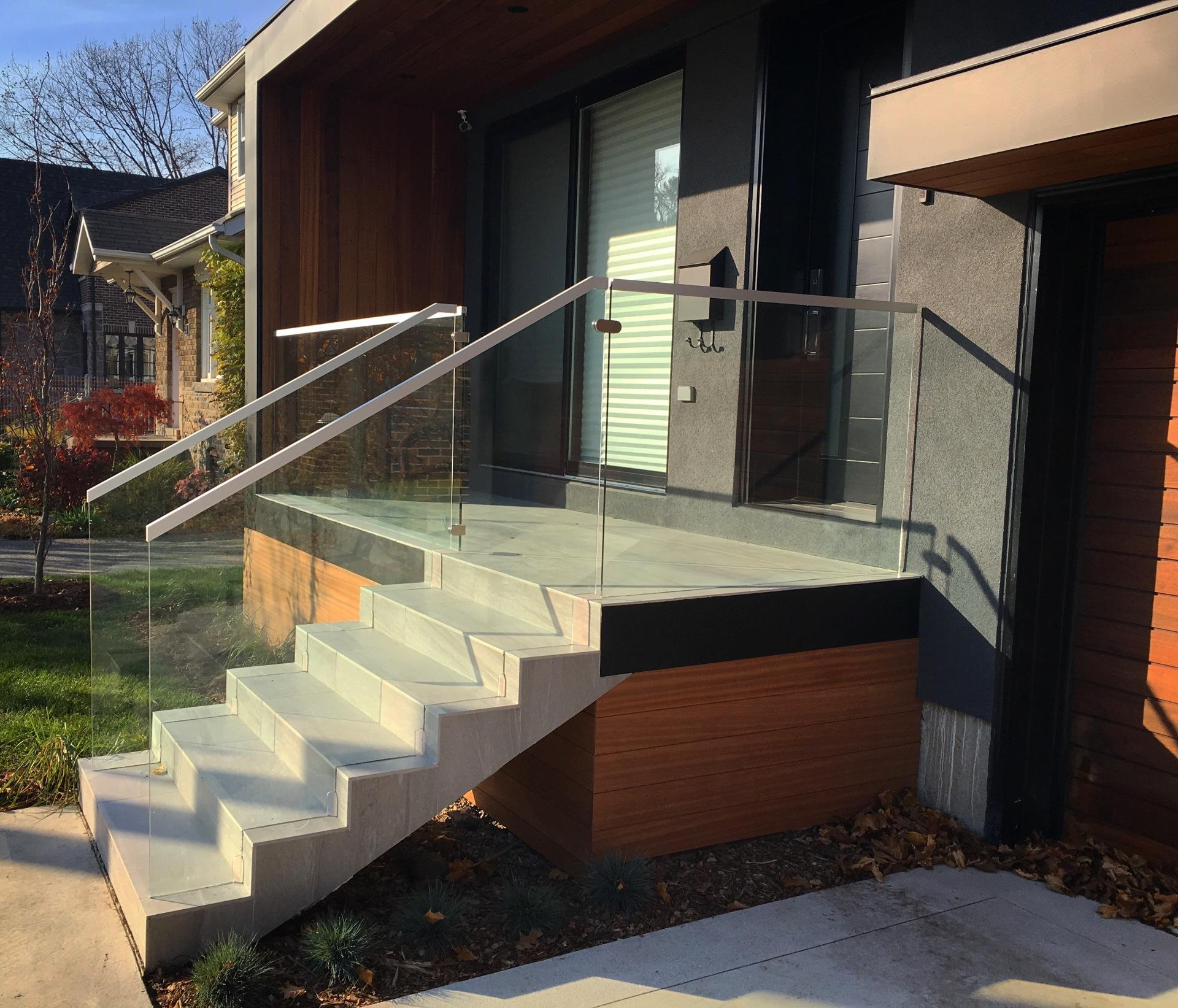 modern house glass railing