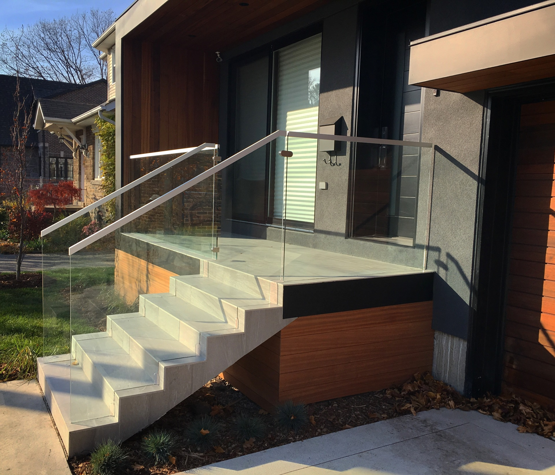 modern house glass railing