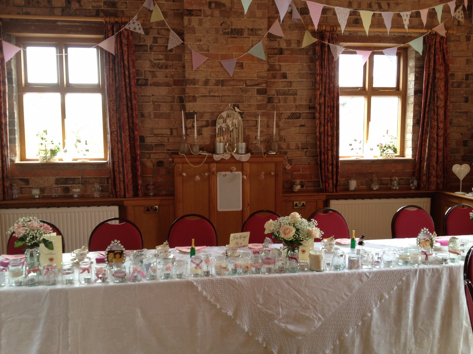 Top Table at Vintage wedding in village hall