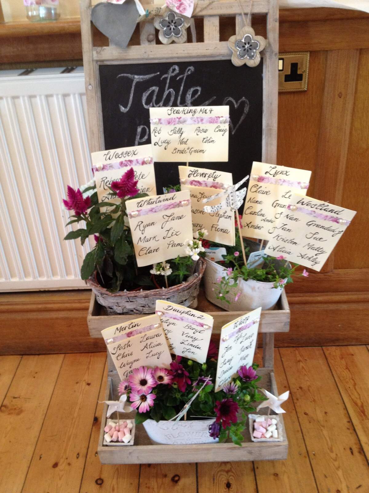 Chalk board and pots  £ 15