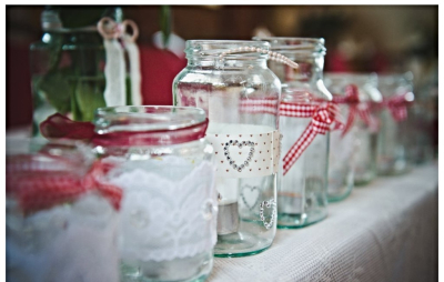 Decorated jam jars 20p each