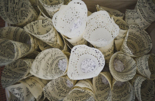 Confetti cones made from doilies and music notes