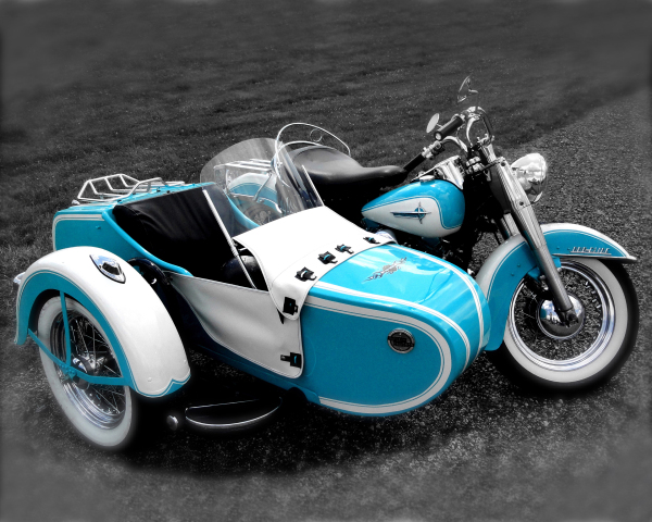 Aqua Sidecar Harley On B&W
