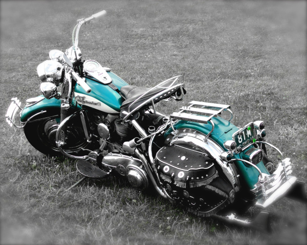 Vintage Green Harley On B&W