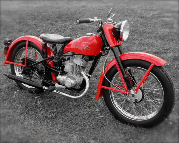 Vintage Red Harley On B&W