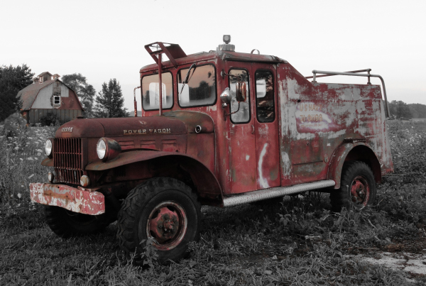 Old Fire Truck - Rust on B&W