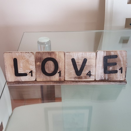 Scrabble Love Sign