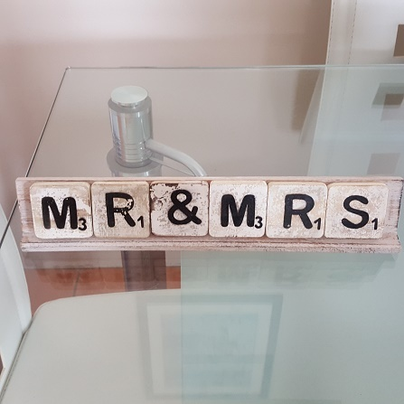 Mrs & Mrs Scrabble Sign