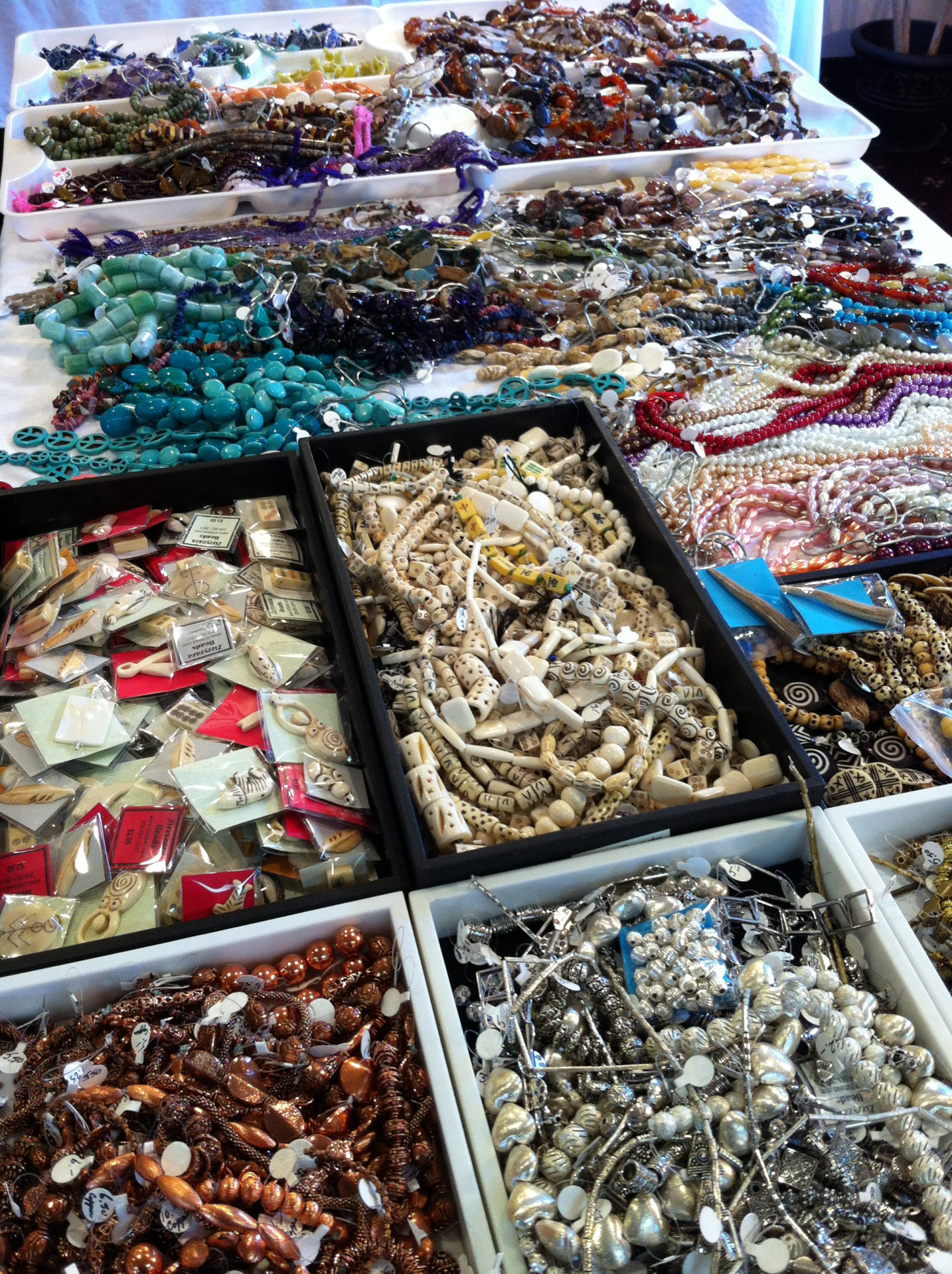 Bone, Stone, Metal and Clay! All types of beads for sale.