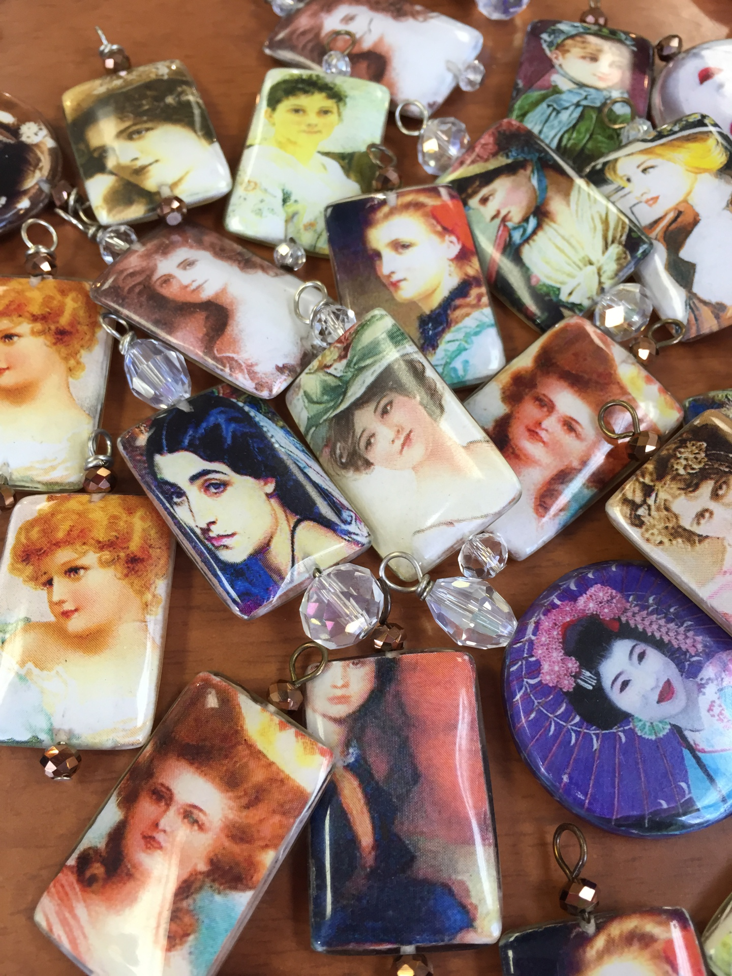 Beautiful Ladies Decoupage Beads