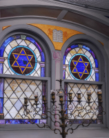 Stained glass windows in traditional shul.