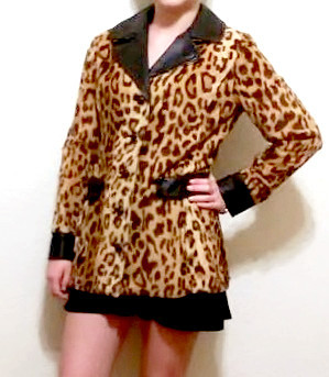 Vintage women's leather and leopard fur jacket