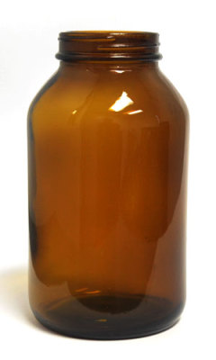 Glass Wide Mouth Amber Packer - 500ml