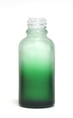 Green gradation coated 30ml clear bottle